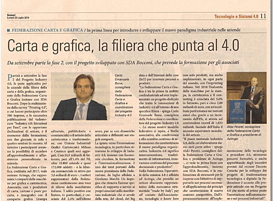 """La sfida 4.0 della Federazione Carta e Grafica in """"Scenari"""" del Sole24Ore"""