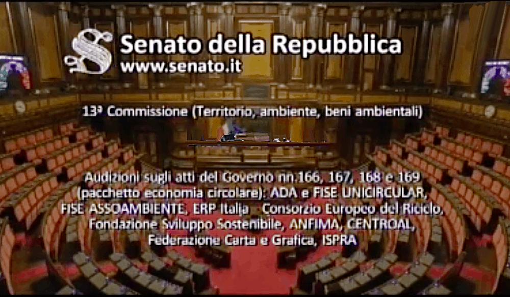 La Federazione ascoltata in audizione al Senato sull'Economia circolare