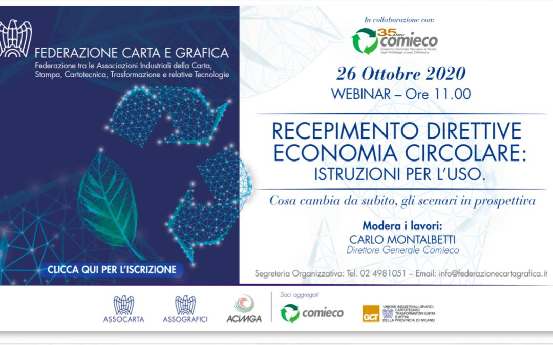 Le nuove norme del pacchetto economia circolare: webinar il 26/10