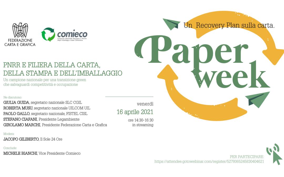 Filiera della carta, stampa e imballaggio alla PaperWeek: un campione nazionale per il PNRR